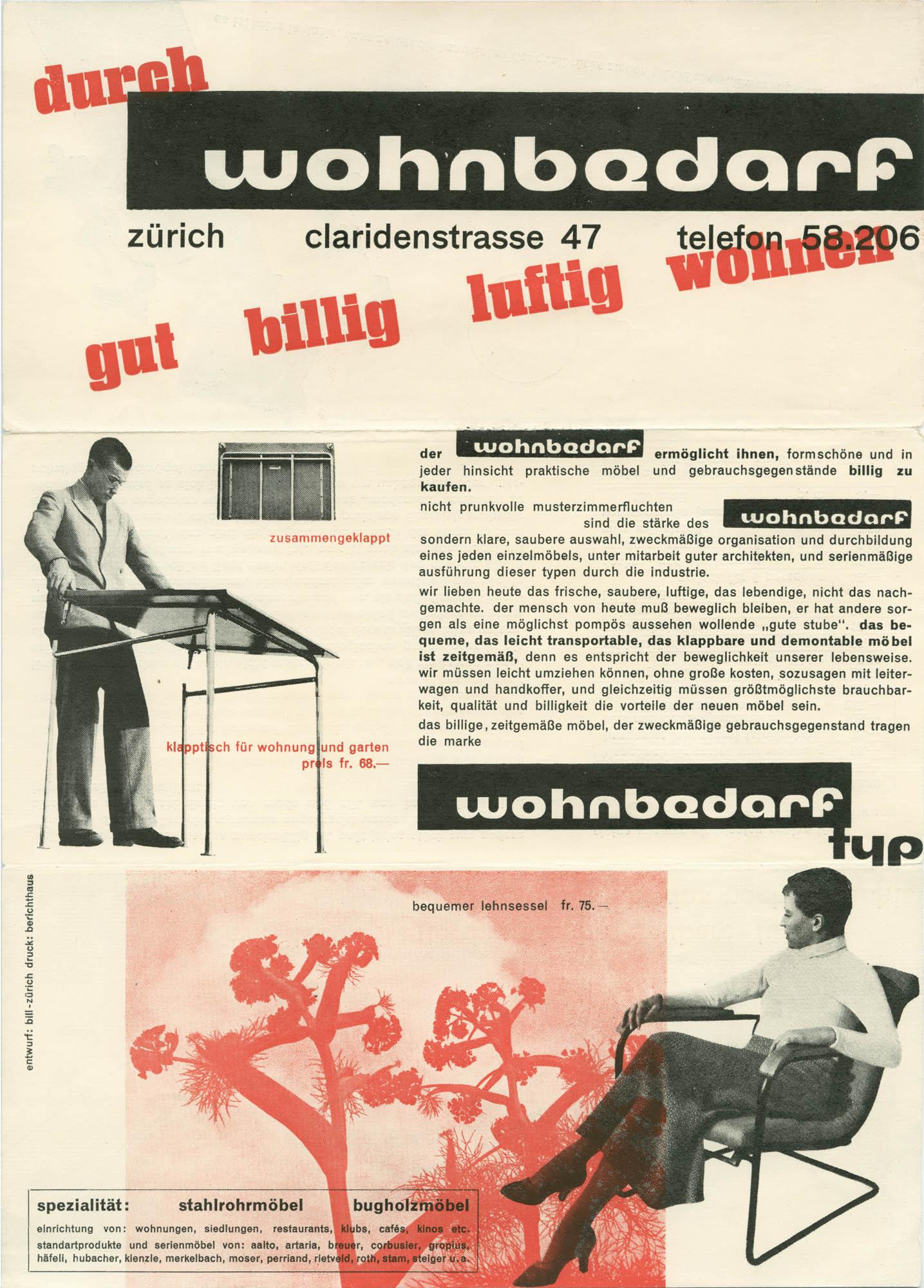 Wohnbedarf Zürich Max Bill Plakat