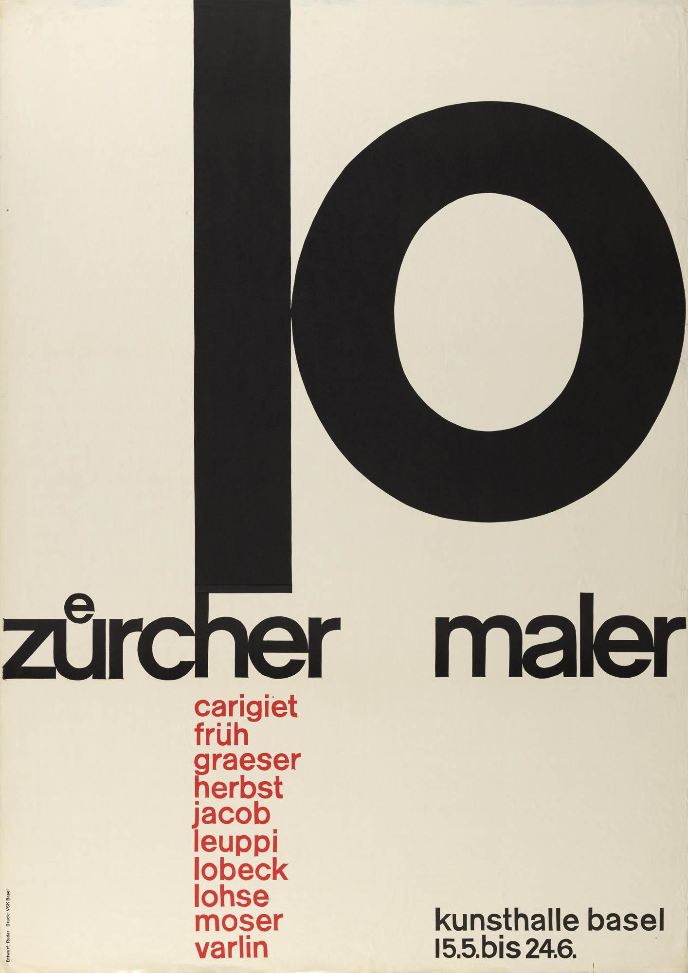 Moderne französische Knüpfteppiche Emil Ruder Plakat