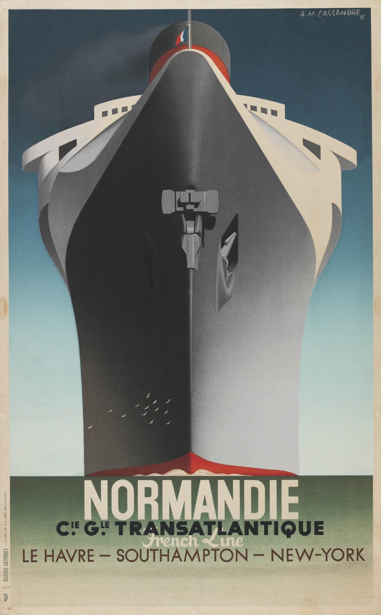 """L'Amérique du Sud par le paquebot """"l'Atlantique"""" Adolphe Mouron Cassandre Plakat"""