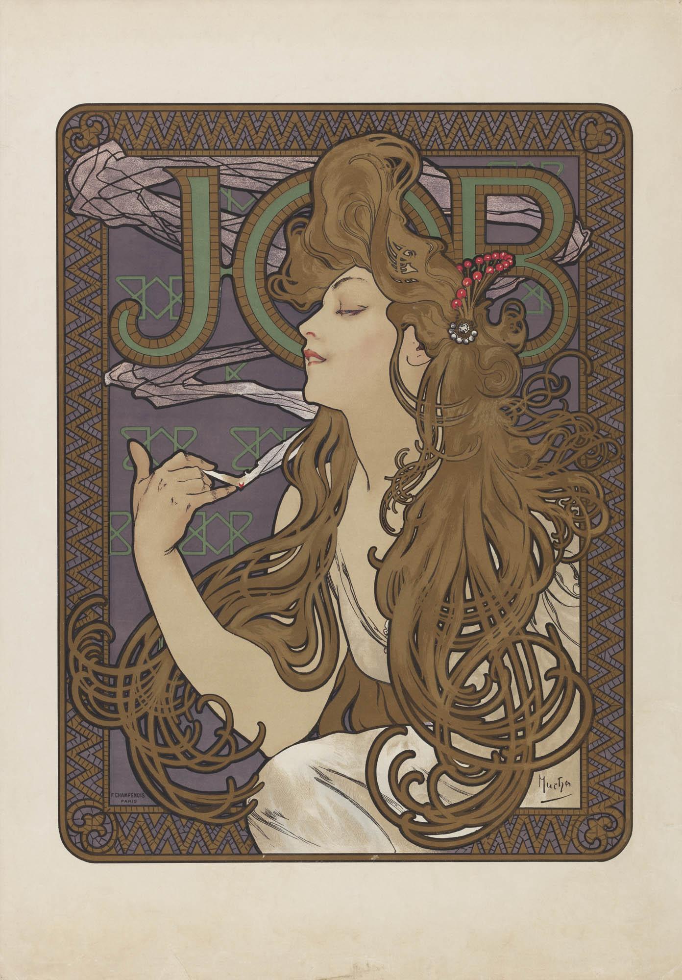Papier à cigarettes Job Jane Atché Affiche