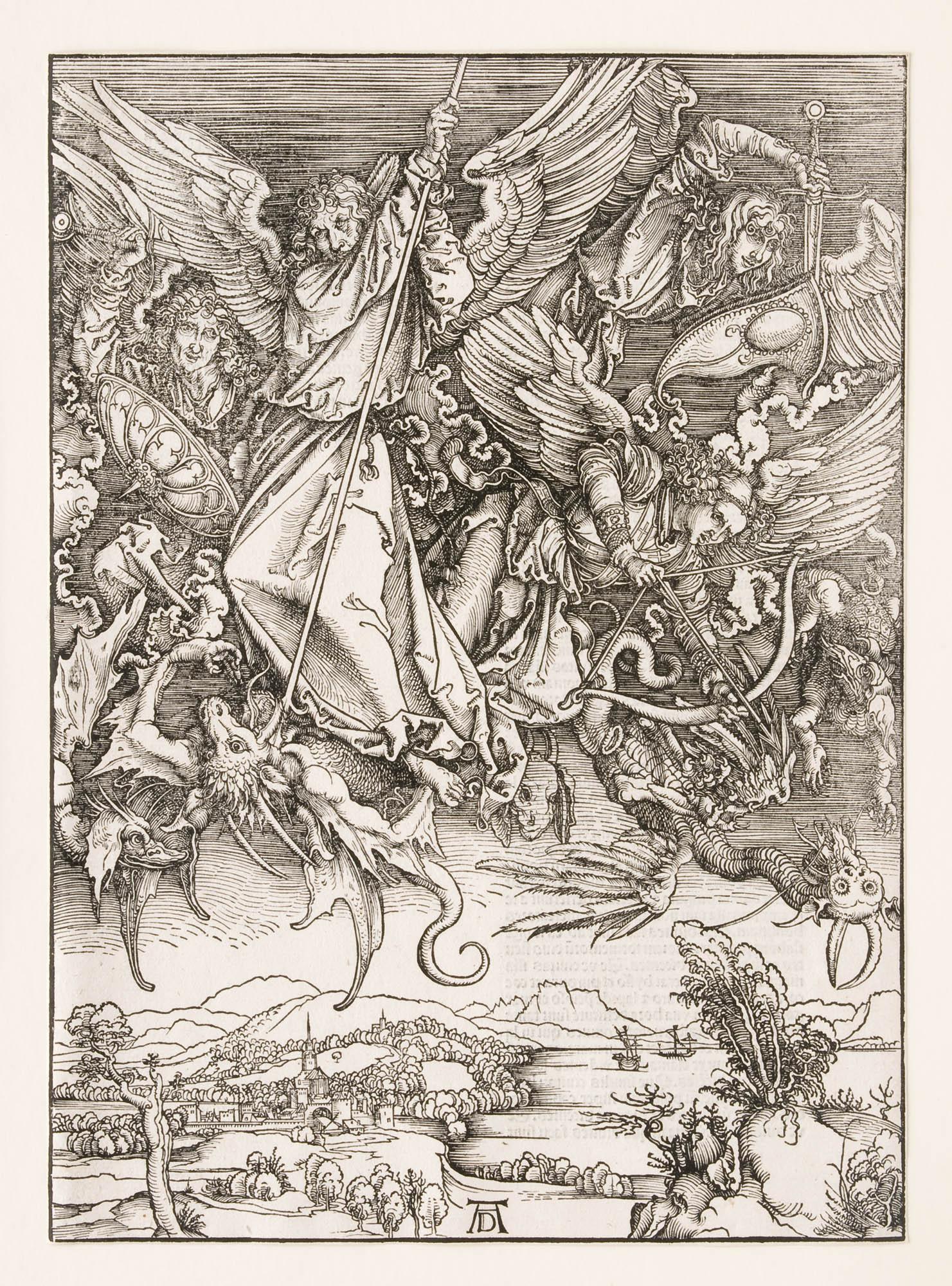 Einzelseite, Das Sonnenweib und der siebenhäuptige Drache (Apokalypse – Die Offenbarung des Johannes) Albrecht Dürer Buch
