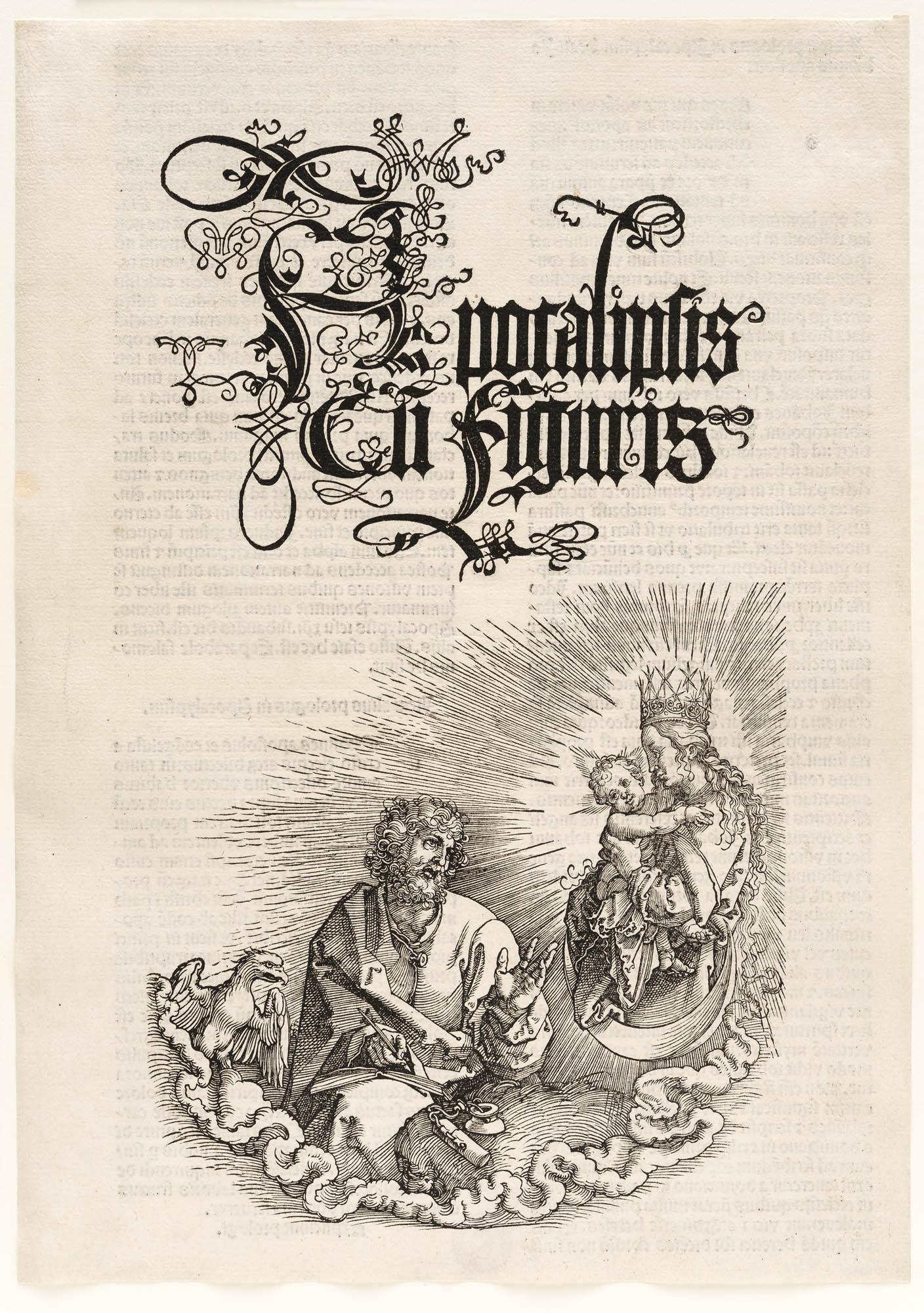 Einzelseite, Das Sonnenweib und der siebenhäuptige Drache (Apokalypse – Die Offenbarung des Johannes) Albrecht Dürer Book