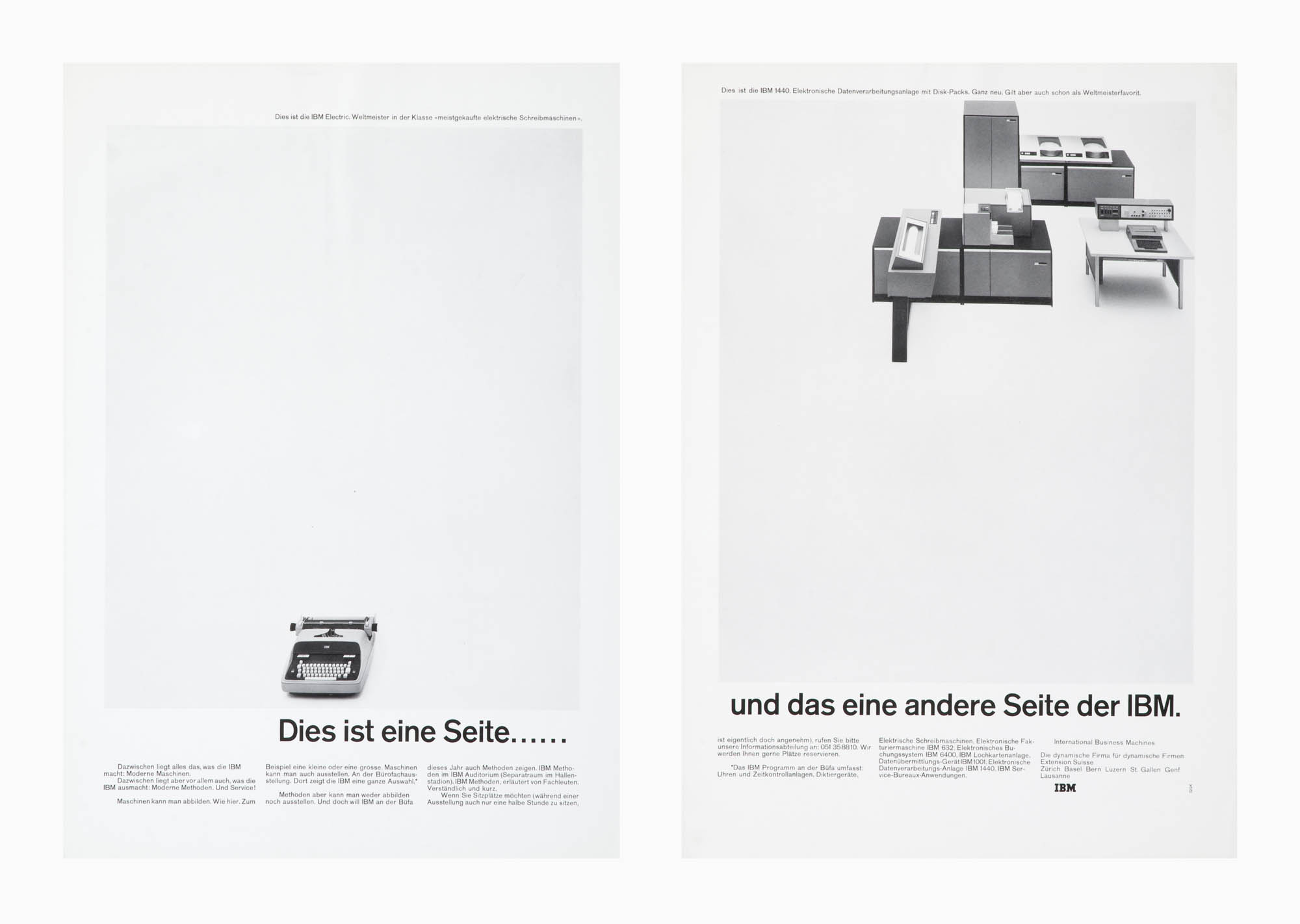 Warum konnten wir eine so schöne Schreibmaschine bauen? – Darum. – IBM Karl Gerstner Magazine ad
