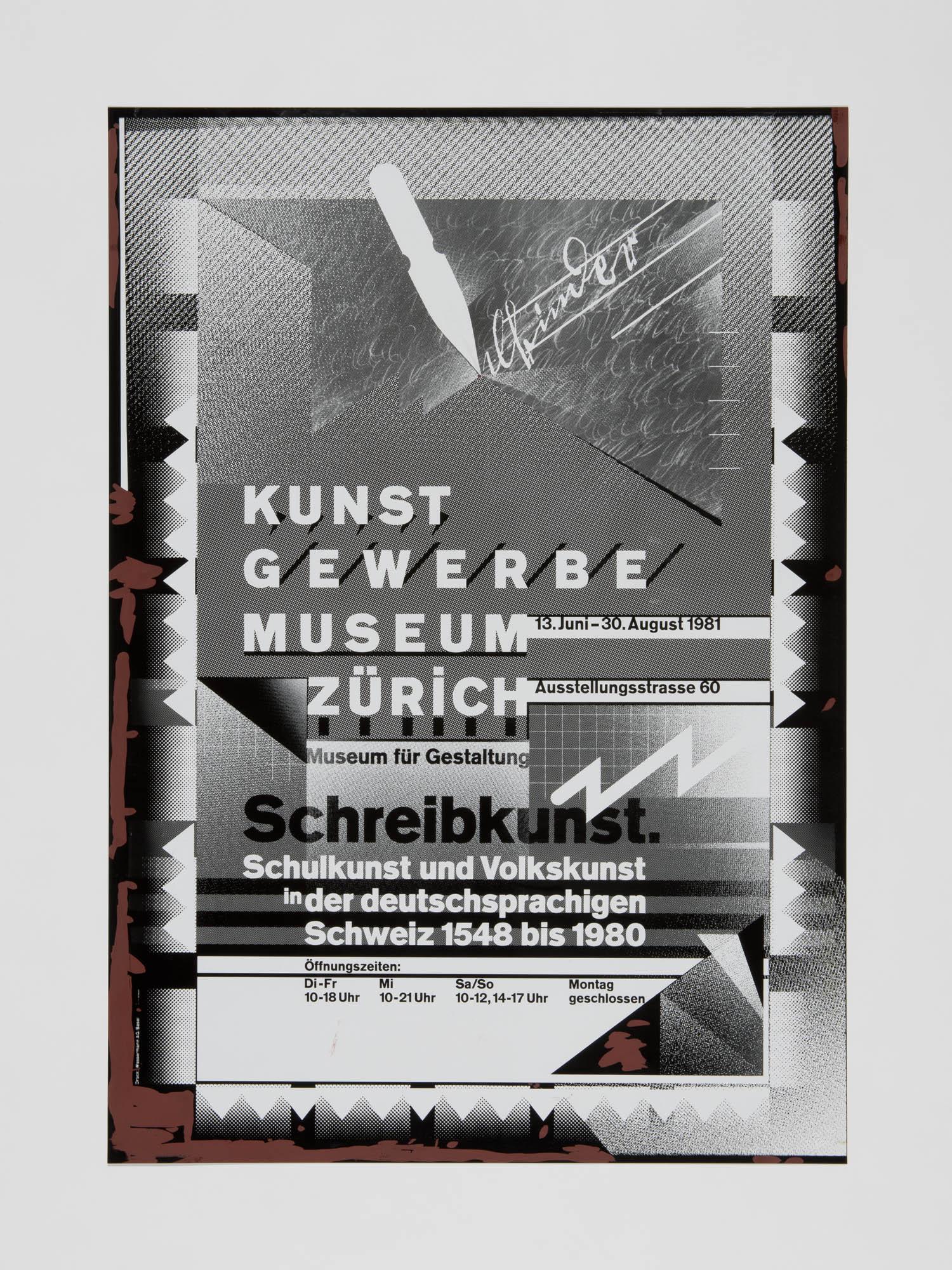 Kunstgewerbemuseum Zürich – Schreibkunst Wolfgang Weingart Poster design