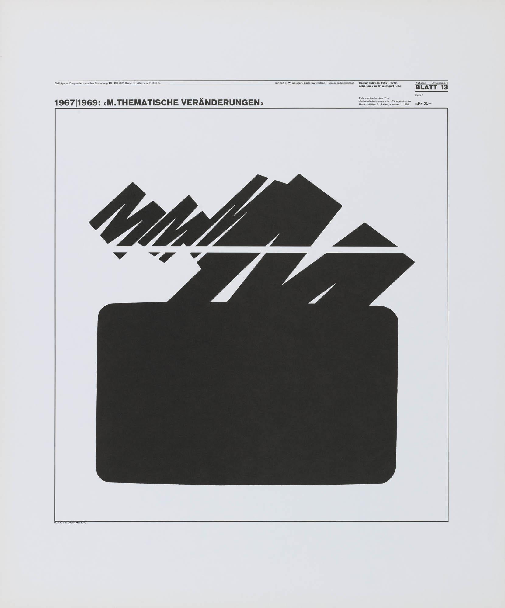 Foto optisches Experiment mit dem Buchstaben M Wolfgang Weingart Studienarbeit