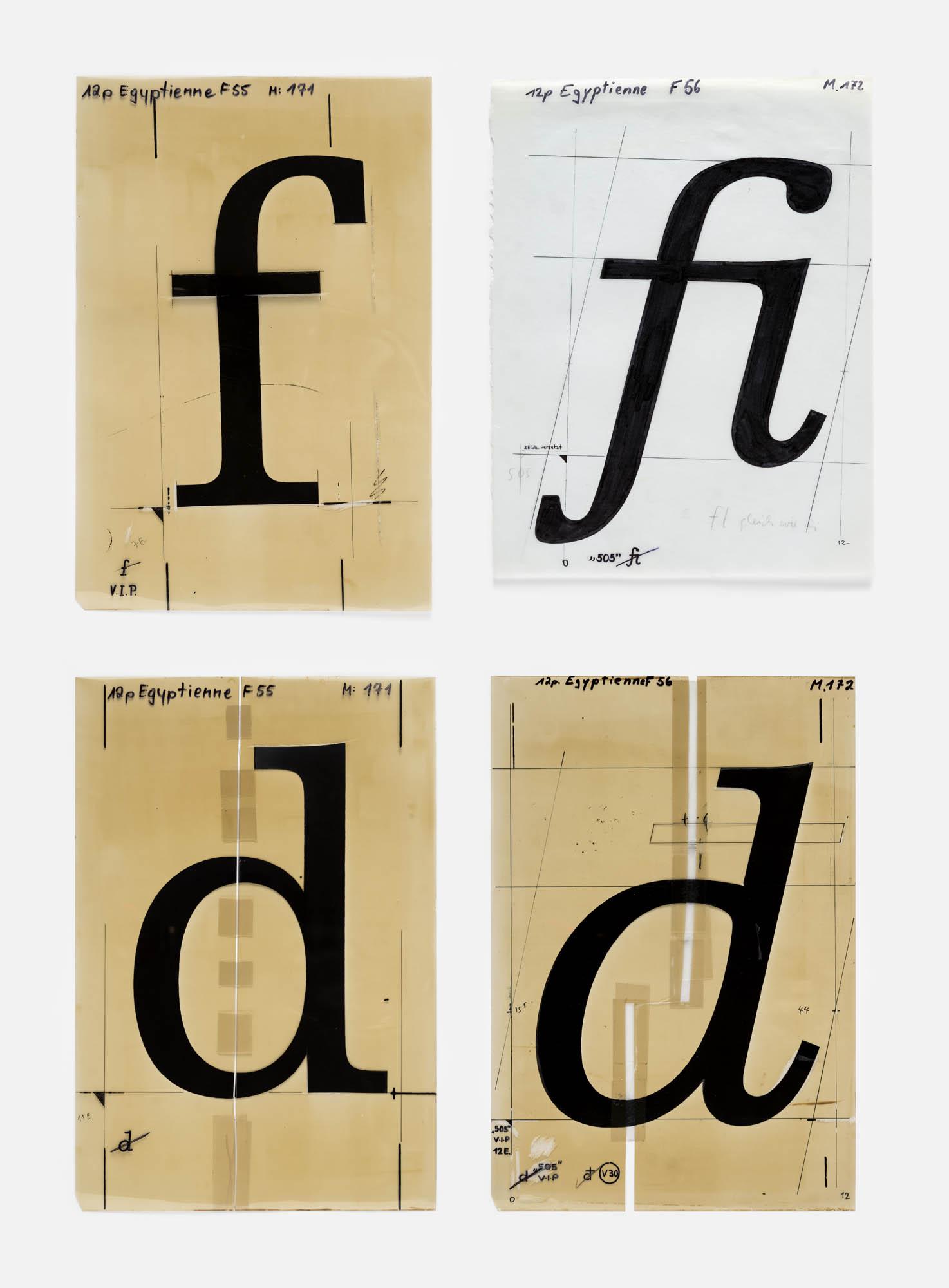 (Vorstudie zur Egyptienne F), ABC ... Adrian Frutiger Schriftentwurf