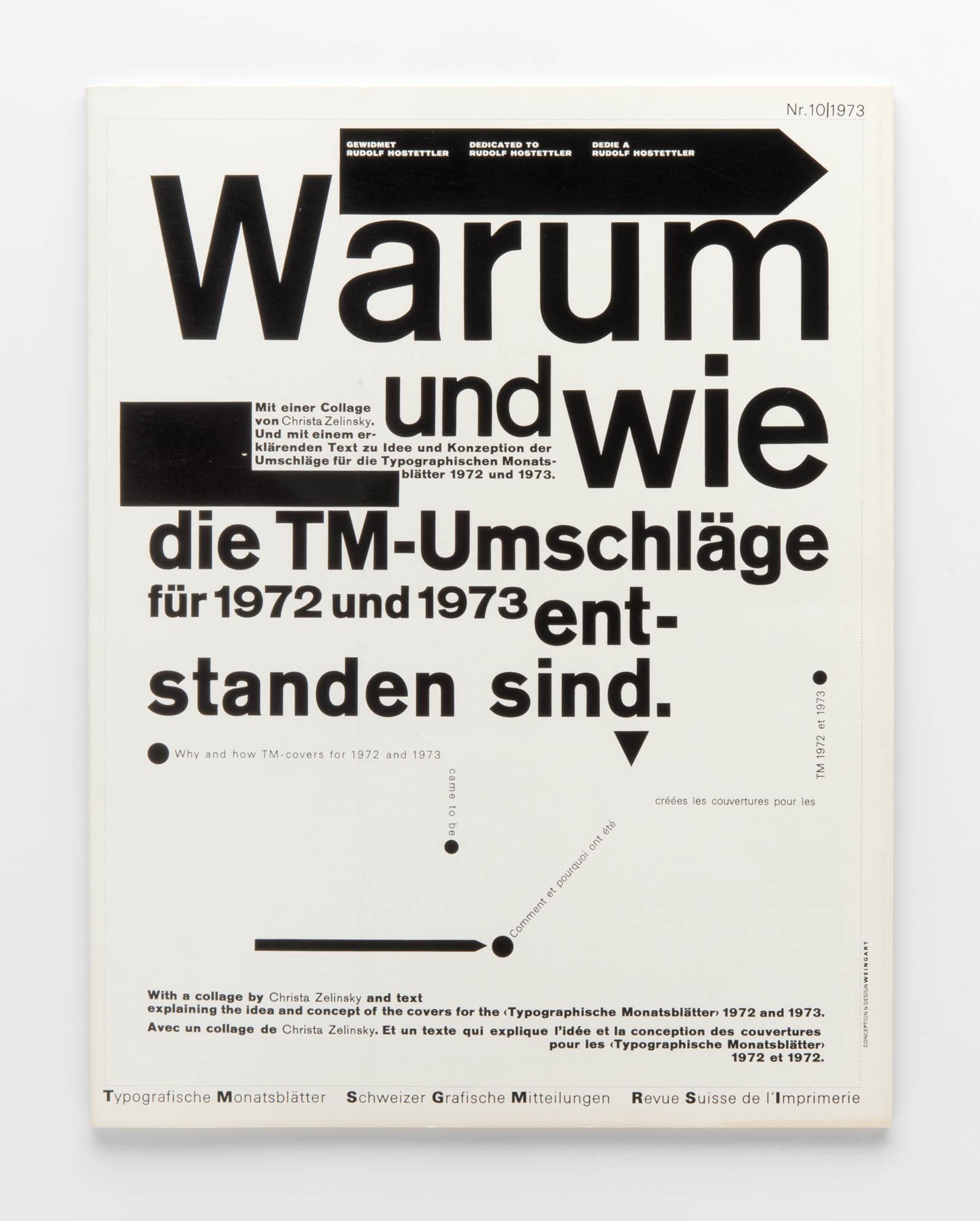 Typografische Monatsblätter 11, 1973 – Typographie kann unter Umständen Kunst sein – Kurt Schwitters: 1924 Wolfgang Weingart Magazine