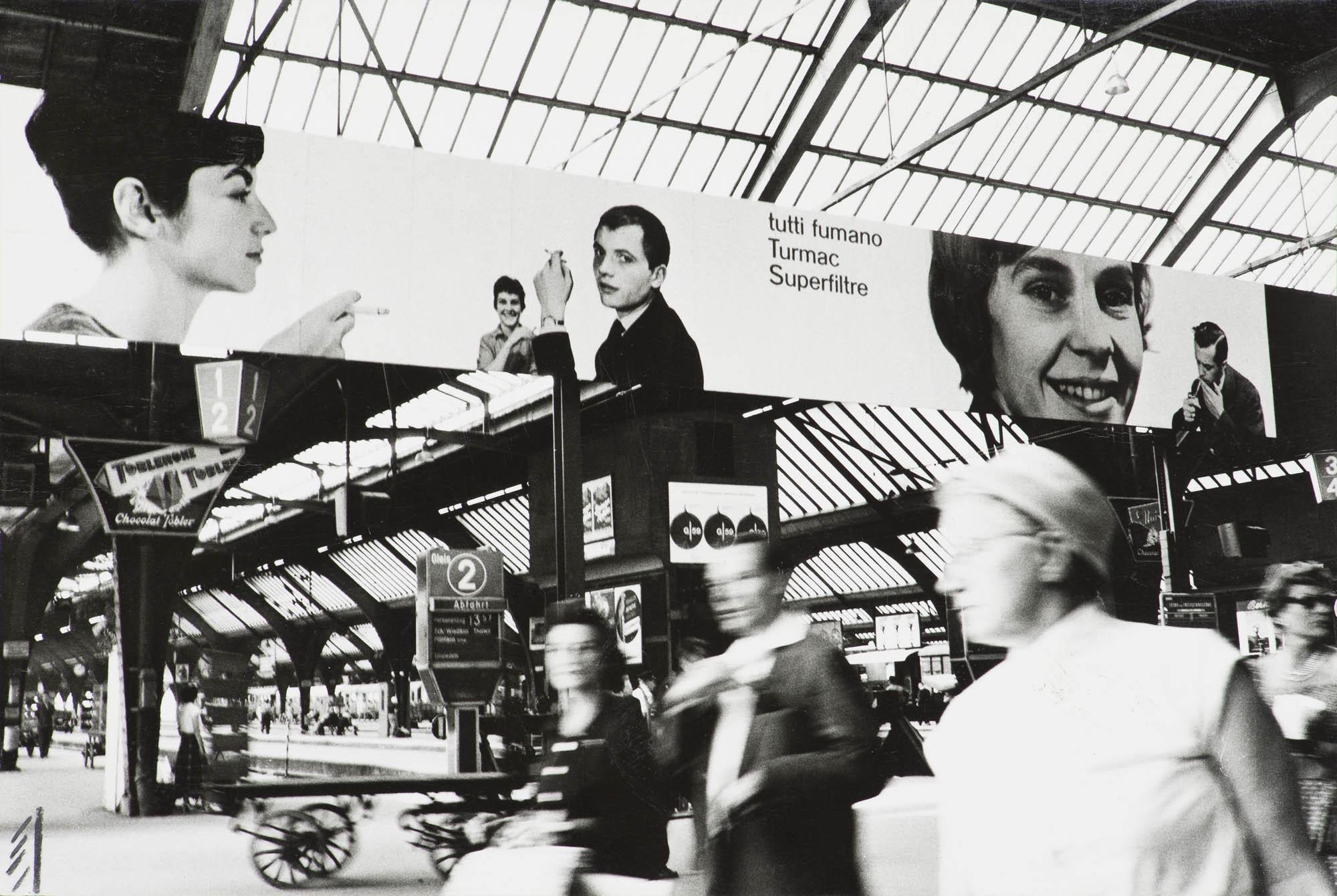Werbepaneel Bahnhof Zürich, Turmac Atelier Müller-Brockmann Serge Libiszewski Photographie
