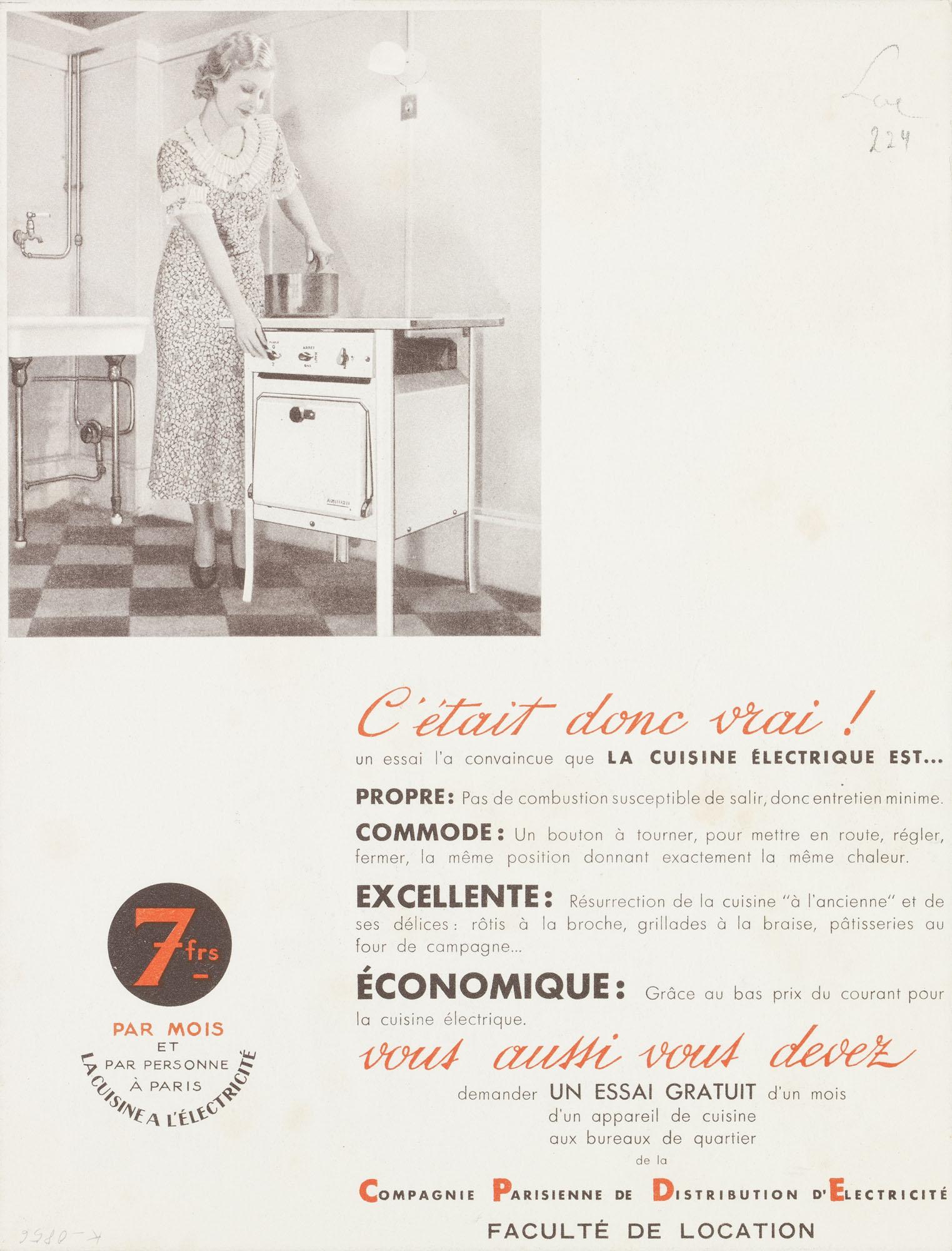 Cuisine électrique – Économique – Exquise – Propre – Pratique Jean Carlu Plakat