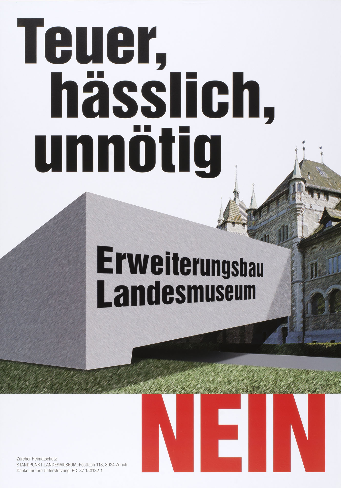 Soll Basel 30 Jahre zurückkrebsen? Museumsbau Ja Niklaus Stoecklin Poster